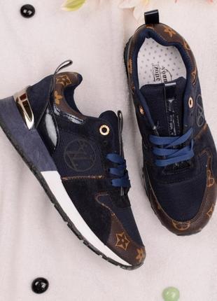 Стильные замшевые синие кроссовки с вставками