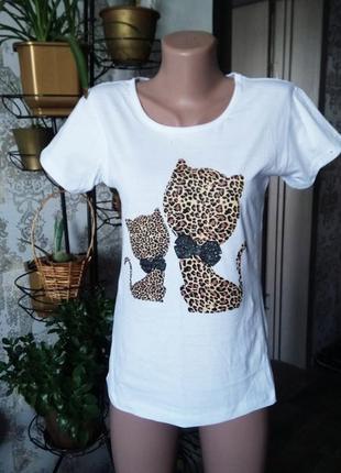 Uk 10 m новая футболка с котами в леопардовый принт