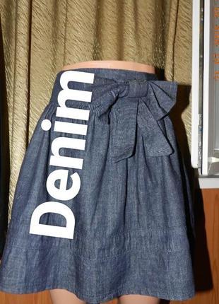⛔⛔✅юбка джинс с бантом и двумя боковыми карманами