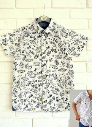 Стильная хлопковая рубашка с принтом debenhams 10лет в идеальном состоянии