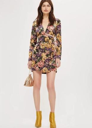 Велюрове плаття платье на запах topshop