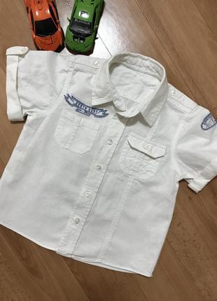 Белая льняная рубашка с коротким рукавом нарядная лён на мальчика 1,5-2,5 года