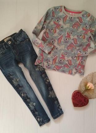 Комплект джинсы c вышивкой и свитшот пони