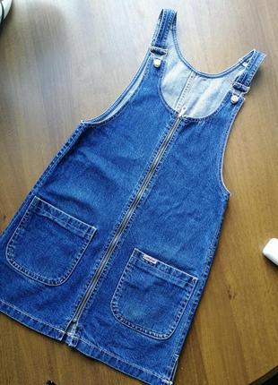 Новый  качественный джинсовый сарафан платье комбез комбинезон 38 джинс gloria jeans