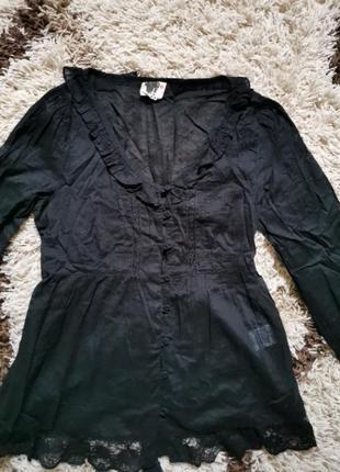 Красивая чёрная блуза рубашка с кружевом хлопок ichi