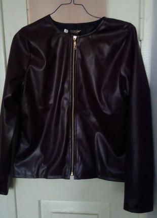 Стильная  демисезонная из экокожи куртка-пиджак размры 42-52