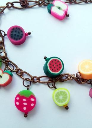Летний нарядный браслет фрукты ручная работа3 фото