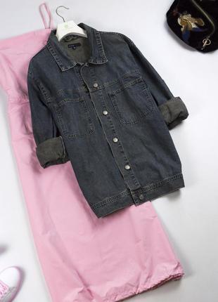 Трендовая удлиненная джинсовая куртка оверсайз винтажный стиль джинсовка бойфренд s m l xl