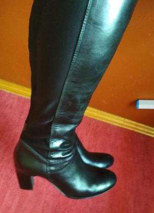 Шикарные кожаные сапоги-чулки
