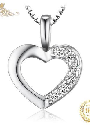 Серебряная подвеска-кулон «сердце» с цепочкой
