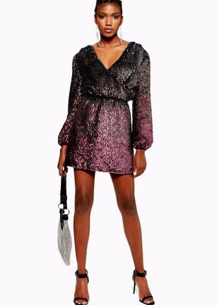 Шикарное платье все рассшито пайетками вечернее диско клуб светское на запах