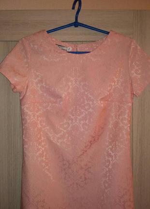 Летнее платье-трапеция цвета персик2 фото