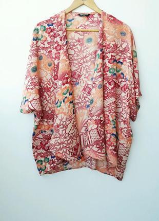 Оригинальная накидка кимоно в цветы l xl 12 14
