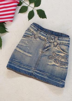Стильная джинсовая юбка с эффектом варёнки от gloria jeans при покупке от 300 грн🎁
