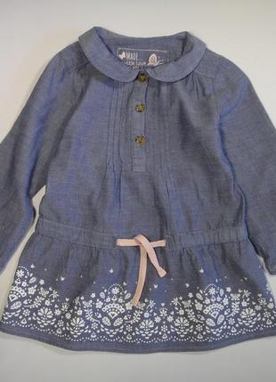 Джинсовое платье-туника young dimension 18-24 мес, 92 см