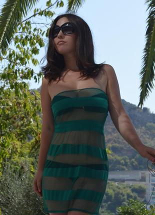 Пляжное платье зеленое