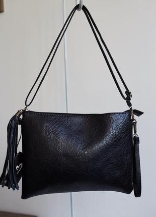 Чёрная сумочка сумка с кисточкой mon monde италия