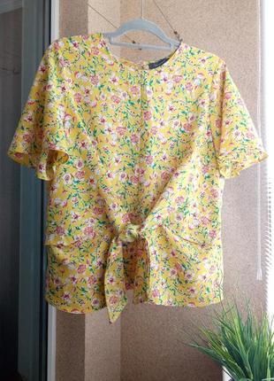 Красивая оригинальная летняя блуза в цветочный принт