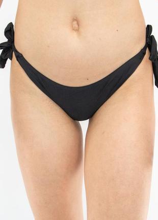 Плавки женские бразилиана на завязках чёрные4 фото