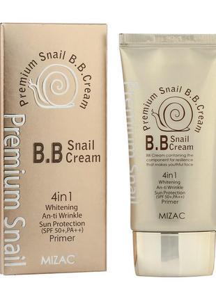 Корейский bb крем на основе улитки mizac premium snail 4в1 spf50 50мл, вв крем
