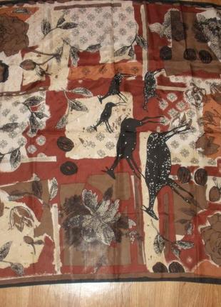 Интересный шелковый платок 100% шелк esprit /80*81 см