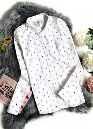 Белоснежная хлопковая рубашка с фламинго