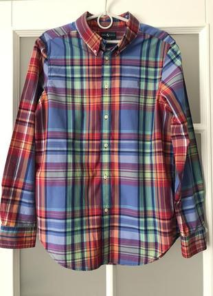 Красивая рубашка в клетку с длинным рукавом ralph lauren