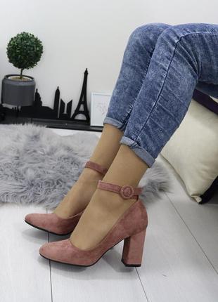 Новые женские розовые туфли на удобном каблуке