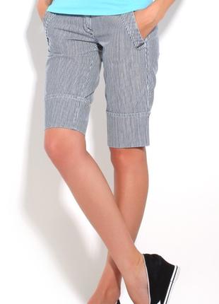 Женские летине хлопковый шорты бриджи в полоску с манжетом diesel италия