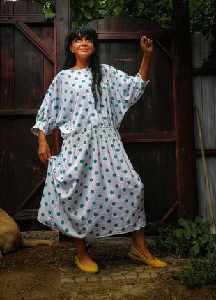 Платье в горох ретро винтаж батал большого размера