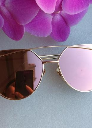 Новые модные очки (с царапинкой на стекле) зеркальные, розовые