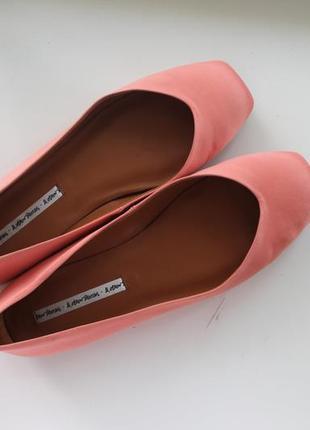 Сатиновые балетки туфли, квадратный носок