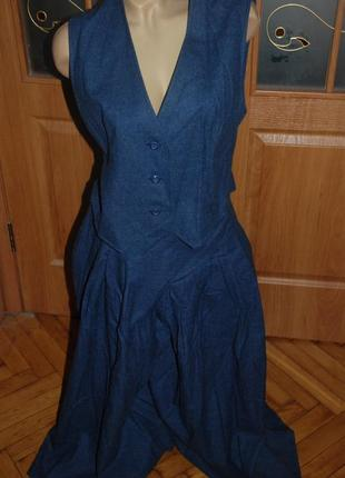 Классный шерстяной костюм, юбка-брюки +жилетка. винтаж! ручная работа.эксклюзив.