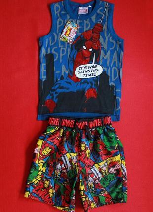 Комплект с человеком-пауком майка и шорты для мальчика 4-5 лет.
