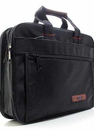Сумка для ноутбука портфель черная текстильная через плечо