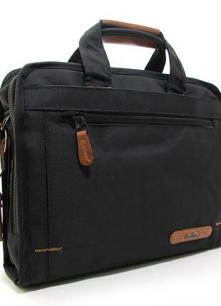 Черная сумка для ноутбука портфель с длинным ремешком через плечо
