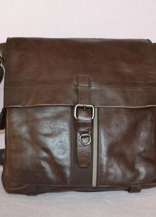 Мужская кожаная сумка hugo boss, номерная,