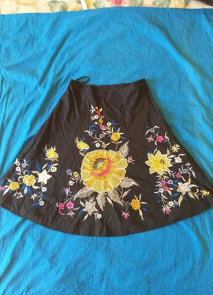 Красивая юбка в стиле вышиванки, 100% хлопок,  производство индия