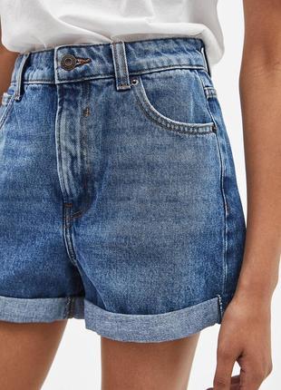 Голубые джинсовые шорты bershka с поткатами