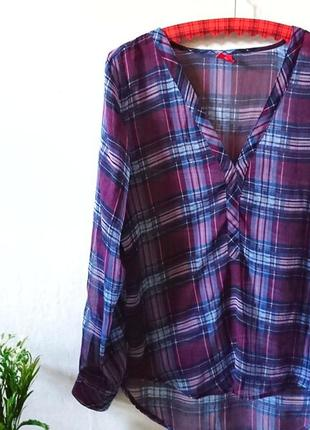 Шифоновая блуза в актуальную клетку 🔸 бренд livre