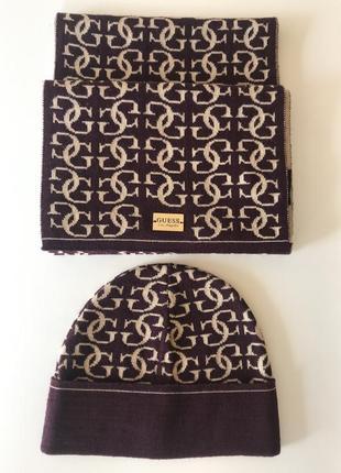 Шапка шарф набор шерстяной стильный модный дорогой бренд guess