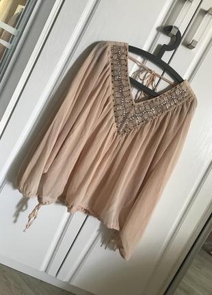 Невероятная нюдовая пудровая шифоновая блуза
