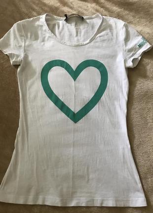 Белая хлопковая футболка love moschino с сердцем