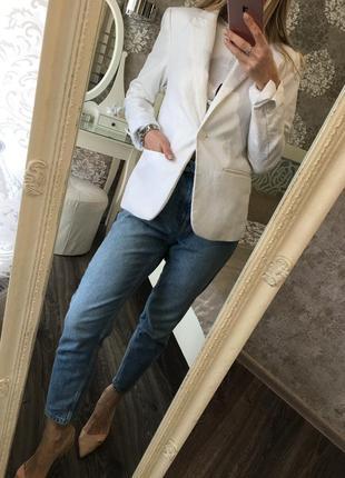 Белый пиджак 47% лен!