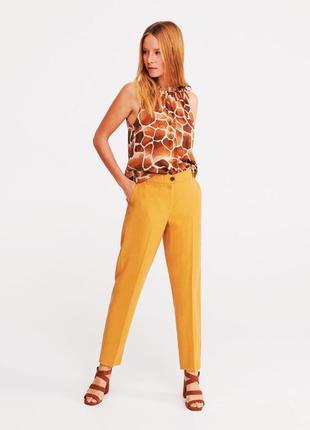 Качественные женские желтые прямые брюки со стрелками высокая талия посадка