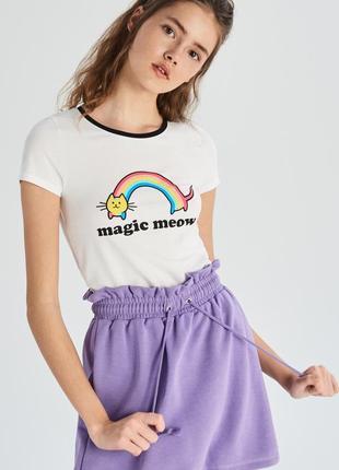 10-86 жіноча футболка sinsay з написом magic meow женская футболка