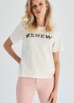10-87 жіноча футболка sinsay з написом renew женская футболка