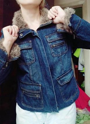 Куртка укороченная косуха утепленная джинсовая джинсовка жакет пиджак осенняя весенняя
