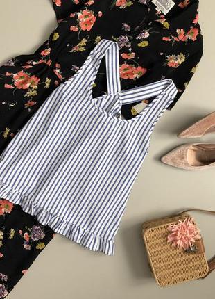 Красивая хлопковая майка / блуза в полоску с оборкой по низу shein