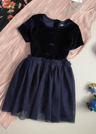 Милейшее бархатное платье с фатиновой юбкой 4-5 лет next